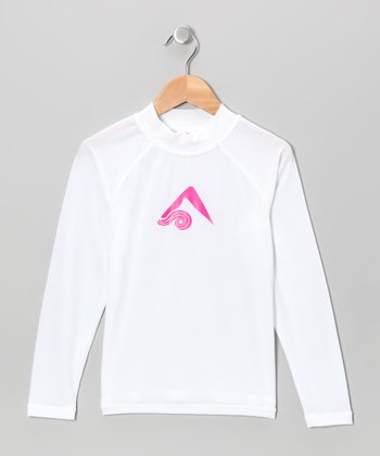 White Logo Rashguard - Toddler & Girls