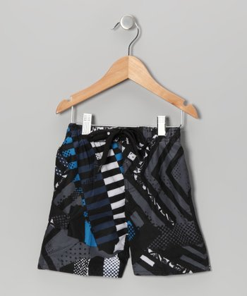 Charcoal & Royal Tire Tread Swim Trunks - Toddler