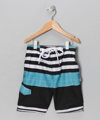 Black & Aqua Stripe Swim Trunks - Boys