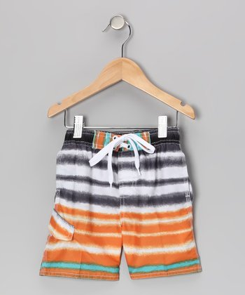Orange Quantum Swim Trunks - Infant