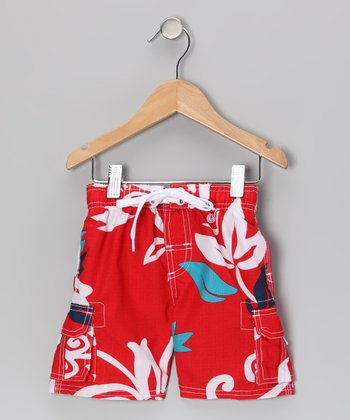 Red Oahu Swim Trunks - Infant