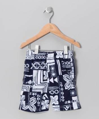 Navy Plaid Swim Trunks - Boys