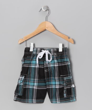 Black Plaid Swim Trunks - Toddler