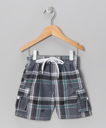 Charcoal Plaid Swim Trunks - Toddler