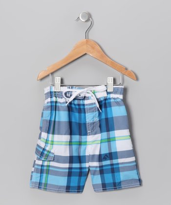 Navy & Royal Swim Trunks - Boys