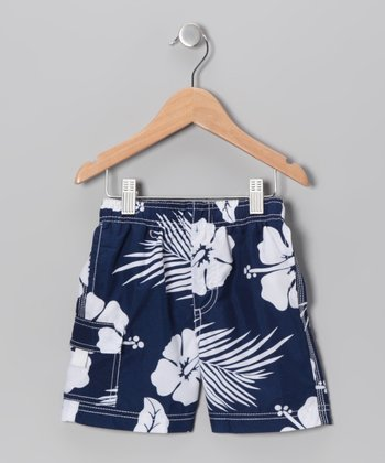 Navy Hibiscus Swim Trunks - Boys