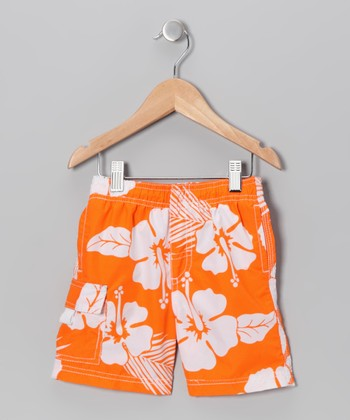 Orange Hibiscus Swim Trunks - Boys