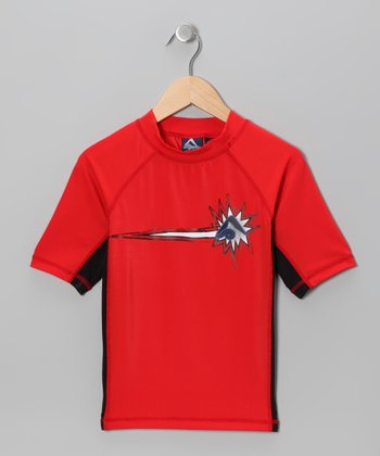 Charcoal & Red Rashguard - Toddler & Boys