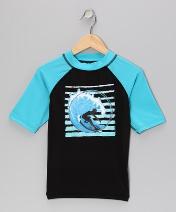 Black & Aqua X-Pro Rashguard - Toddler & Boys
