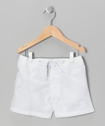 White Boardshorts - Girls