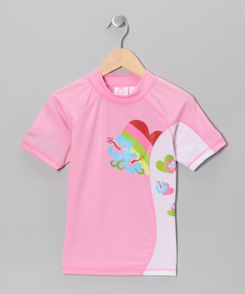 Pink Paris Rashguard - Girls