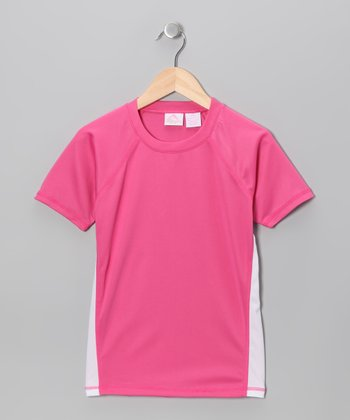 Pink & White Rashguard - Toddler & Girls