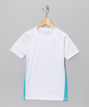 White & Aqua Rashguard - Toddler & Girls