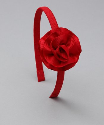Red Cabbage Rose Headband