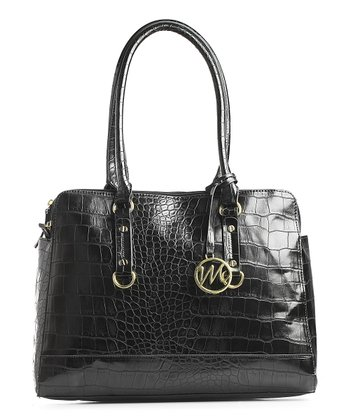 Black Crocodile Embossed Kimberley Compartment Shoulder Bag