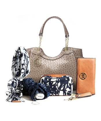 Cinder Ostrich Natalie Scoop Shoulder Bag & Essentials Box Set