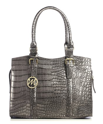 Pewter Crocodile Jane Satchel
