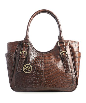 Mahogany Crocodile Jane Double Shoulder Bag