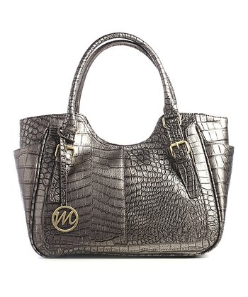 Pewter Crocodile Jane Double Shoulder Bag