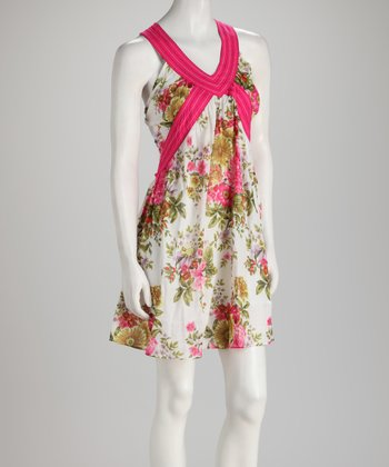Ivory & Pink Floral Sleeveless Dress