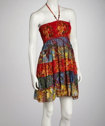 Red & Yellow Floral Patchwork Shirred Halter Dress