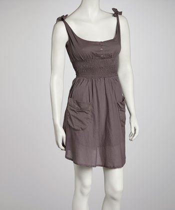 Gray Shirred Double-Pocket Sleeveless Dress