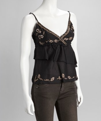 Black Embroidered Ruffle Tank