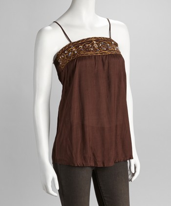 Brown Embroidered Tank