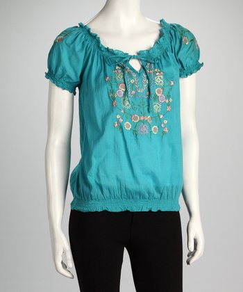 Teal Floral Embroidered Peasant Top