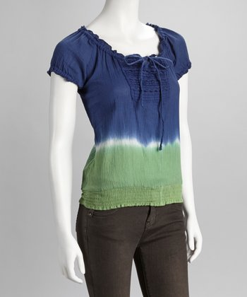 Blue Tie-Dye Peasant Top