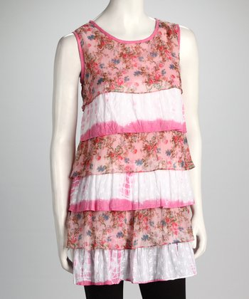 Pink Floral Tiered Sleeveless Top