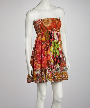 Orange Patchwork Shirred Strapless Dress