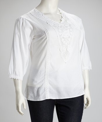 White Crochet Plus-Size Top