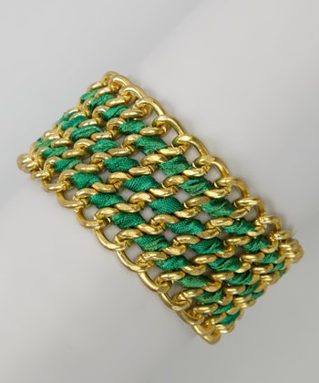 Green & Gold Chain Ribbon Wrap Bracelet