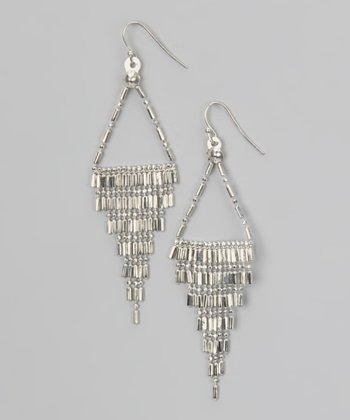 Silver Bar & Ball Bead Fringe Earrings