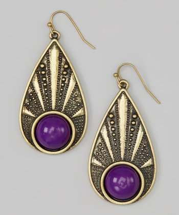 Purple Antiqued Bead Teardrop Earrings