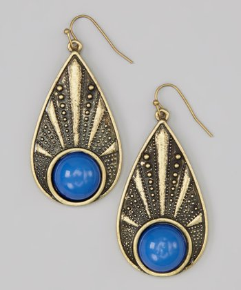 Blue Bead Teardrop Earrings