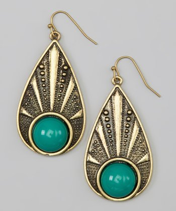 Green Bead Teardrop Earrings