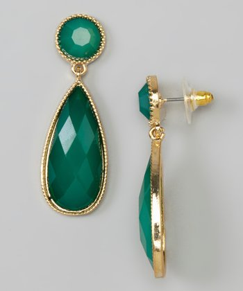 Green Facet Bead Teardrop Earrings