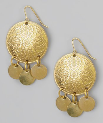 Gold Round Floral Dangle Earrings