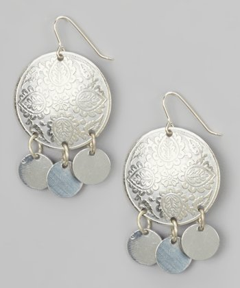 Silver Round Floral Dangle Earrings