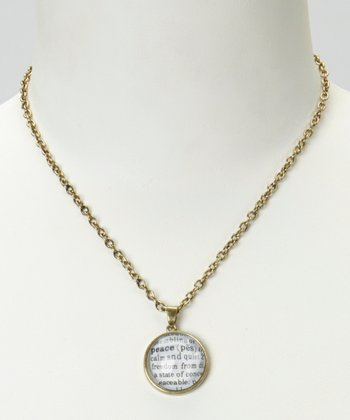 Peace Dictionary Pendant Necklace