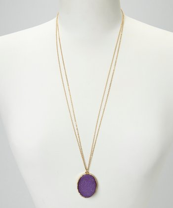 Purple Oval Faux Druzy Pendant Long Necklace