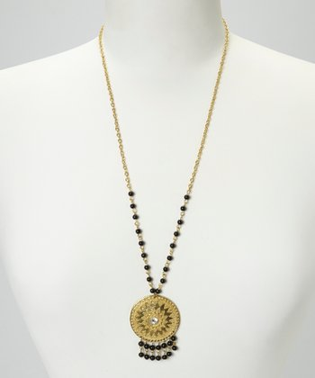 Gold Medallion Bead Necklace