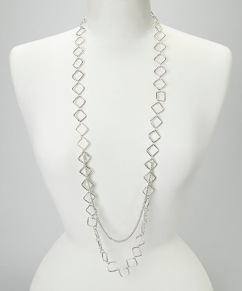 Silver Hammered Squares Necklace