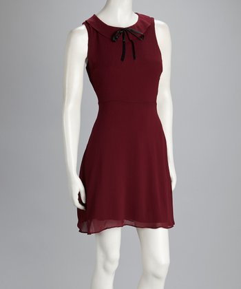 Burgundy Collared Dress