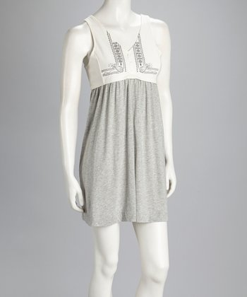 White & Gray Surplice Sleeveless Dress