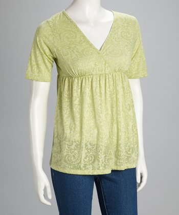 Green Surplice Short-Sleeve Top