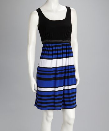 Blue & Black Stripe Belted Dress