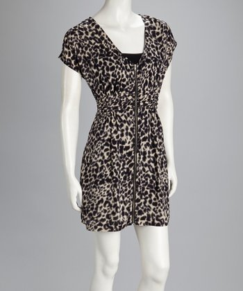 Cream Leopard Zipper Dress